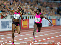22 AUG 2013 - STOCKHOLM, SWE - Kerron Stewart (right) of Jamaica beats Alexandria Anderson of the USA to the line to win the women's 100m race in a time of 11:24 during the DN Galen meet of the 2013 Diamond League at the Stockholm Olympic Stadium in Stockholm, Sweden (PHOTO COPYRIGHT © 2013 NIGEL FARROW, ALL RIGHTS RESERVED)