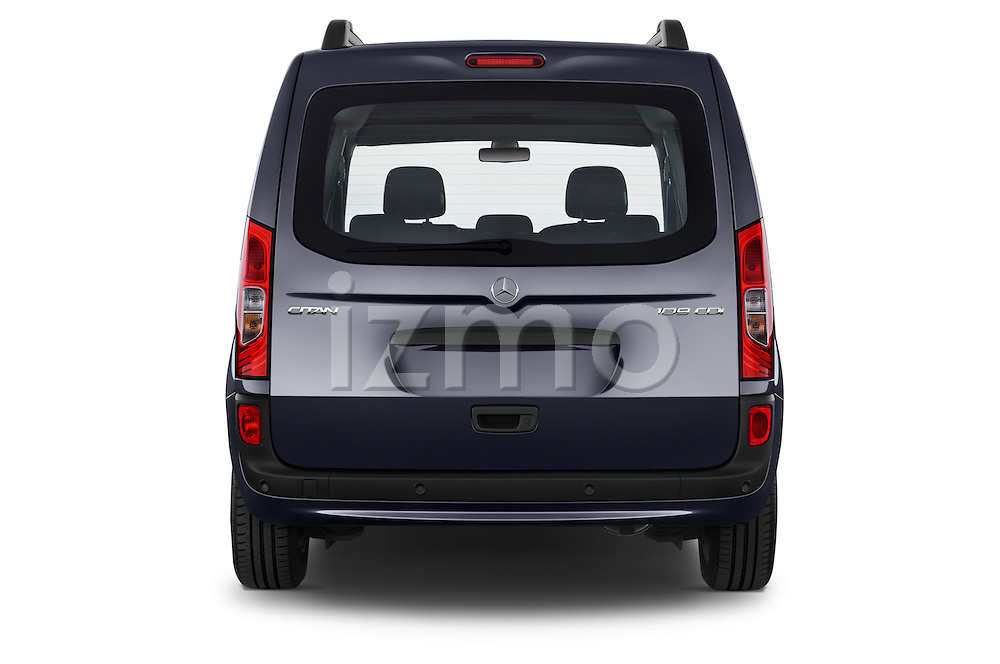 Straight rear view of a 2015 Mercedes Benz Citan 109 Cdi 5 Places 5 Door Passenger Van Rear View  stock images
