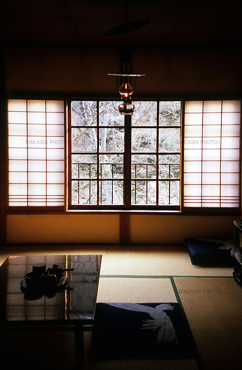 A tatami room of Aoni Onsen Inn, traditional Japanese style inn with hot springs , Aomori.The room has no electricity but only oil lantern.