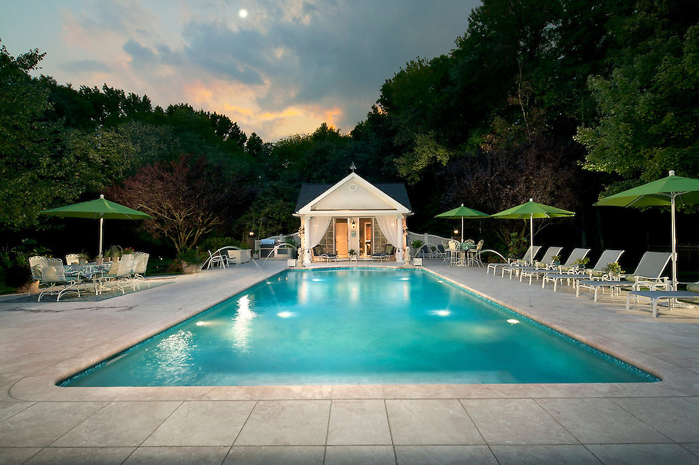 Outdoor Pool with Lutron Lighting