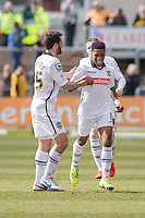 Genaro Snijders of Notts County celebrates scoring his side's first goal during the Sky Bet League 2 match between Newport County and Notts County at Rodney Parade, Newport, Wales on 30 April 2016. Photo by Mark  Hawkins / PRiME Media Images.