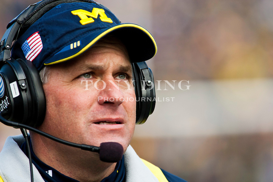 Michigan head coach Rich Rodriguez looks on from the sideline in the first quarter of an NCAA college football game with Illinois, Saturday, Nov. 6, 2010, in Ann Arbor, Mich. (AP Photo/Tony Ding)