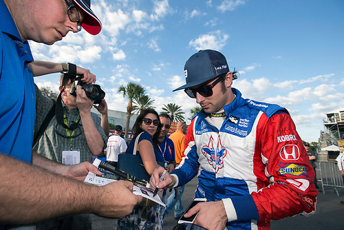 11-13 March, 2016, St Petersburg, Florida USA<br /> 19 Luca Filippi signs autograph for fan<br /> ©2016, Sam Cobb<br /> LAT Photo USA