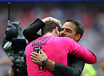 Huddersfield's David Wagner celebrates promotion with Danny Ward during the Championship Play-Off Final match at Wembley Stadium, London. Picture date: May 29th, 2017. Pic credit should read: David Klein/Sportimage