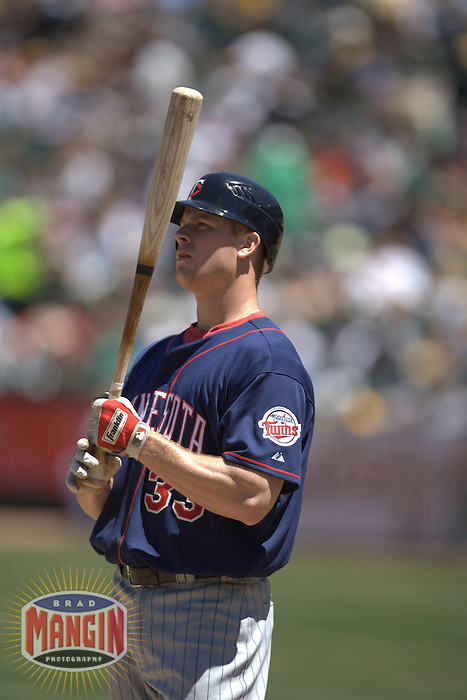 Justin Morneau. Baseball: Minnesota Twins vs Oakland Athletics at McAfee Coliseum in Oakland, CA on June 4, 2006. Photo by Brad Mangin