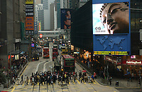 Mega screen TV at the Central District, Hong Kong. .