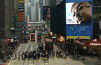 Mega screen TV at the Central District, Hong Kong. .