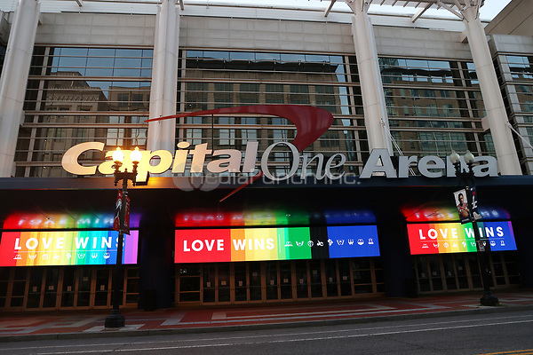 WASHINGTON D.C. - JUNE 29: View of Capital One Arena exterior lit in the colors of the LGBTQ community i  support of Pride month on June 29, 2020 in Washington D.C. Credit: mpi34/MediaPunch