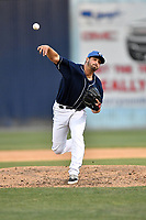 Asheville Tourists pitcher Reid Humphreys (37) delivers a pitch during a game against the Hagerstown Suns  at McCormick Field on May 13, 2017 in Asheville, North Carolina. The Suns defeated the Tourists 9-5. (Tony Farlow/Four Seam Images)