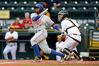 St. Lucie Mets outfielder Aderlin Rodriguez #16 at bat in front of catcher Jacob Stallings during a game against the Bradenton Marauders on April 12, 2013 at McKechnie Field in Bradenton, Florida.  St. Lucie defeated Bradenton 6-5 in 12 innings.  (Mike Janes/Four Seam Images)