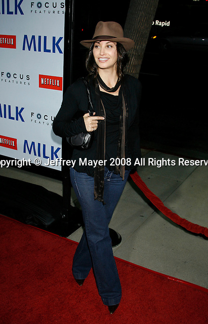 "BEVERLY HILLS, CA. - November 13: Actress Gina Gershon arrives at the Los Angeles Premiere of ""Milk"" at the Academy of Motion Pictures Arts and Sciences on November 13, 2008 in Beverly Hills, California."