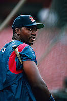 David Ortiz of the Minnesota Twins during a game at Anaheim Stadium in Anaheim, California during the 1997 season.(Larry Goren/Four Seam Images)