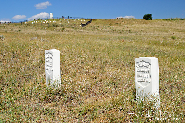 Stone markers preserve the location of fallen 7th Cavalry soldiers at the Little Bighorn Battlefield National Monument in Wyoming. The Battle of Little Bighorn took place on June 25, 1876 when Armstrong's 7th Cavalry was met by a combined force of Lakota-Northern Cheyenne and Arapaho soldiers.