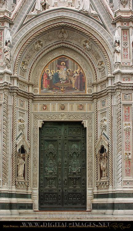 19th c Main Portal Detail Bronze Door Lunette Mosaic Barabino St Reparata St Zenobius Santa Maria del Fiore Florence