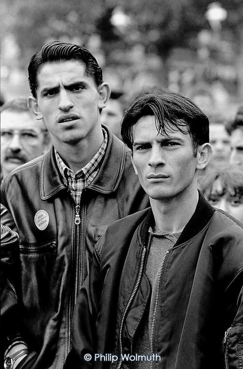Kosovan asylum-seekers demonstrate against Serbian action in Kosova; Trafalgar Square, London, 1998.