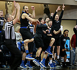 SIOUX FALLS, SD - MARCH 10:  The St. Francis bench explodes near the end of the game following a three pointer against Cornerstone during their quarterfinal game at the 2018 NAIA DII Men's Basketball Championship at the Sanford Pentagon in Sioux Falls. (Photo by Dave Eggen/Inertia)