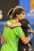 MELBOURNE, 30 JANUARY - Novak Djokovic (SRB) celebrates after winning the men's finals match on day 14 of the 2012 Australian Open at Melbourne Park, Australia. (Photo Sydney Low / syd-low.com)