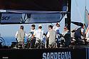 Louis Vuitton Trophy La Maddalena 5 giugno 2010. L'equipaggio di Synergy Russian Sailing Team festeggia la prima vittoria contro Emirates Team New Zealand