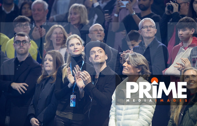 Singer Sam Smith (left), Jude & Jelena Djokovic (right) watch the trophy giving to Andy Murray during the Barclays ATP World Tour Finals FINAL match between ANDY MURRAY and NOVAK DJOKOVIC at the O2, London, England on 20 November 2016. Photo by Andy Rowland.