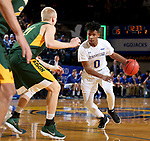 BROOKINGS, SD - FEBRUARY 1: Brandon Key #0 from South Dakota State University drives to the basket against Cameron Hunter #21 from North Dakota State University during their game Thursday at Frost Arena in Brookings. (Photo by Dave Eggen/Inertia)