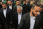 Chairman of the political bureau of the Hamas Palestinian Islamist movement, Ismail Haniyeh arrives to attend a rally marking the 31th anniversary of the founding of the Hamas movement, in Gaza city, December 16, 2018. Photo by Mahmoud Khattab