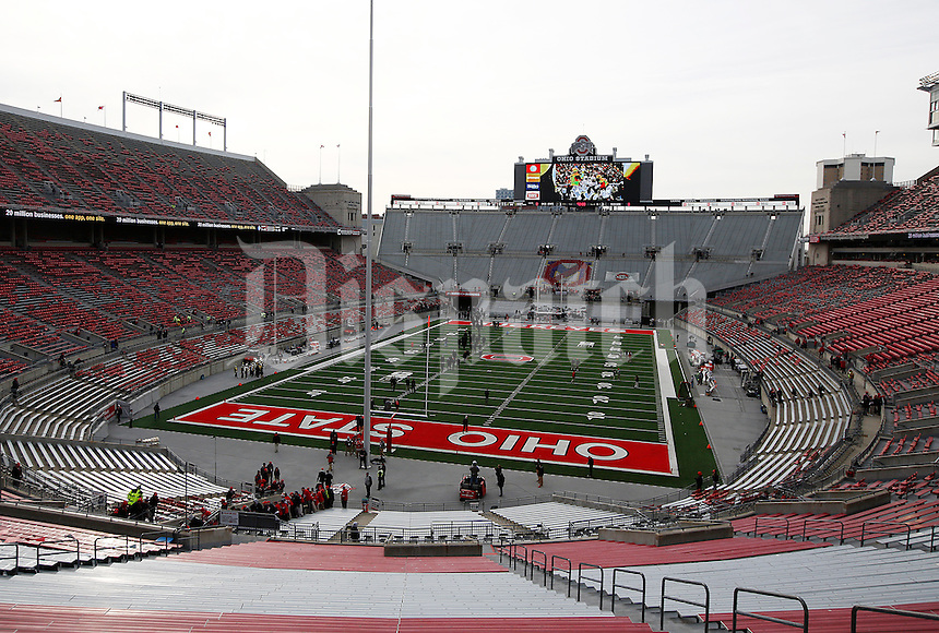 The Ohio State Buckeyes walk across the field before the college football game between the Ohio State Buckeyes and the Michigan Wolverines at Ohio Stadium in Columbus, Saturday morning, November 29, 2014.  (The Columbus Dispatch / Eamon Queeney)