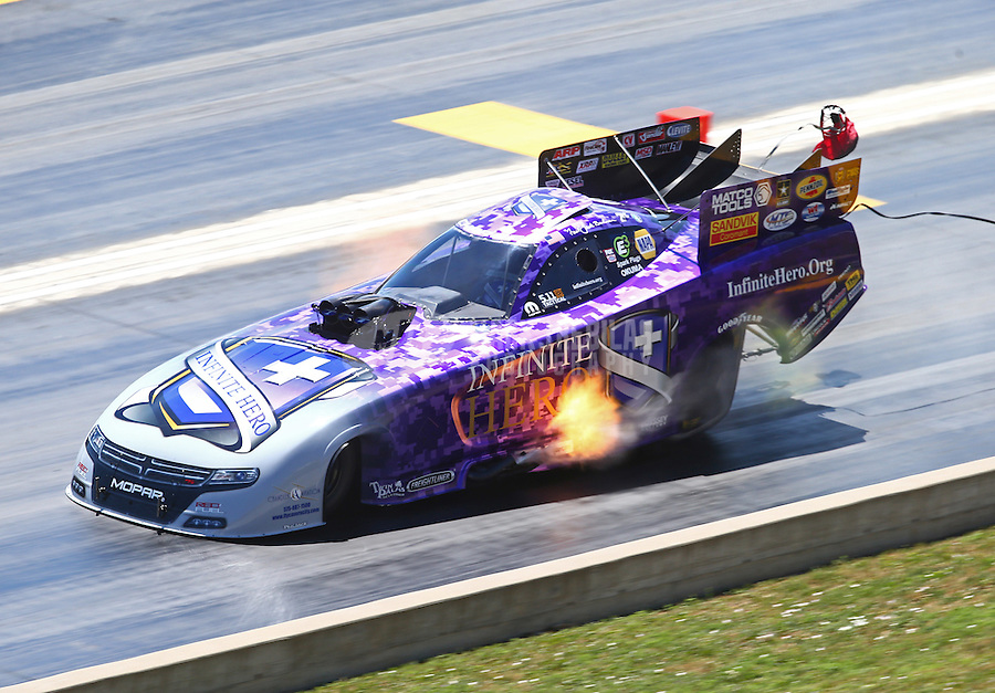 Jul 24, 2016; Morrison, CO, USA; NHRA funny car driver Jack Beckman during the Mile High Nationals at Bandimere Speedway. Mandatory Credit: Mark J. Rebilas-USA TODAY Sports