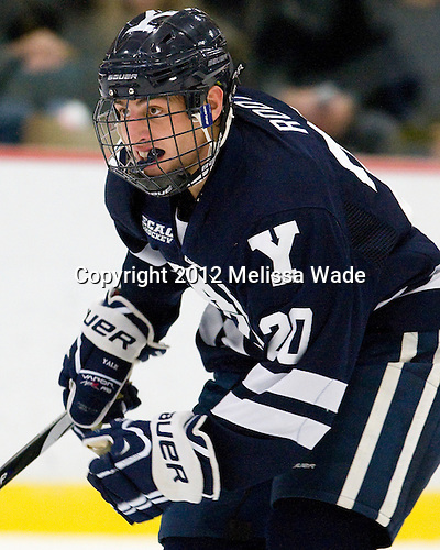 Jesse Root (Yale - 20) - The Yale University Bulldogs defeated the Harvard University Crimson 5-1 on Saturday, November 3, 2012, at Bright Hockey Center in Boston, Massachusetts.