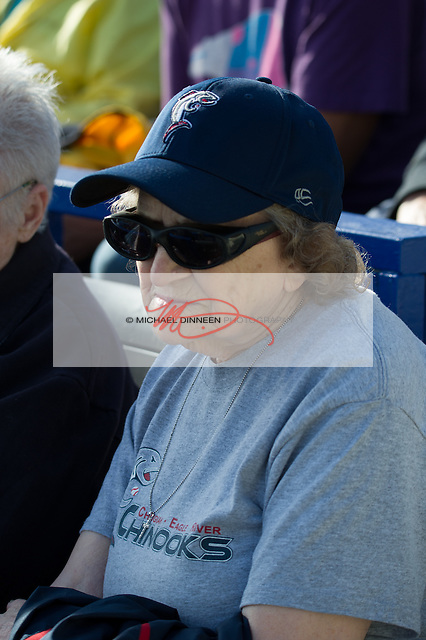 Decked out in her Chinook finest, fan and player host Betty Jo Worthington watches the action at Mulcahy Stadium Thursday, June 9, 2016. Photo for The Star by Michael Dinneen