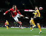 Wayne Rooney of Manchester United directs a header across the face of the goal - FA Cup Fourth Round replay - Manchester Utd  vs Cambridge Utd - Old Trafford Stadium  - Manchester - England - 03rd February 2015 - Picture Simon Bellis/Sportimage