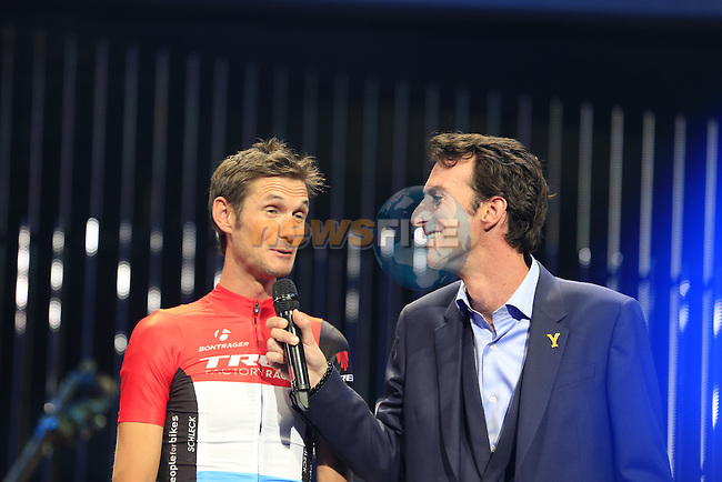 Frank Schleck (LUX) Trek Factory Racing team on stage at the Team Presentations held in the Leeds First Direct Arena before the Grand Depart of the 2014 Tour de France. 3rd July 2014.<br /> Picture: Eoin Clarke www.newsfile.ie