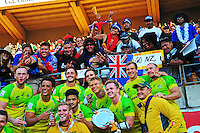 Australia pose for a photo with fans during day two of the 2016 HSBC Wellington Sevens at Westpac Stadium, Wellington, New Zealand on Sunday, 31 January 2016. Photo: Nizaam Jones / lintottphoto.co.nz