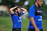 Guy Mercer of Bath Rugby takes a breather. Bath Rugby training session on August 4, 2015 at Farleigh House in Bath, England. Photo by: Patrick Khachfe / Onside Images