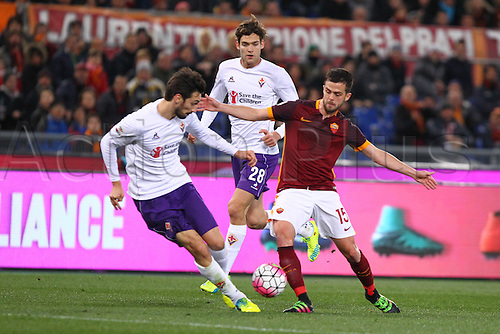 04.03.2016. Stadium Olimpico, Rome, Italy.  Serie A football league. AS Roma versus Fiorentina. Pjanic Miralem is tackled in midfield