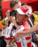 Joaquin Purito Rodriguez with his daughter during the stage of La Vuelta 2012 between Lleida-Lerida and Collado de la Gallina (Andorra).August 25,2012. (ALTERPHOTOS/Acero) /NortePhoto.com<br /> <br /> **CREDITO*OBLIGATORIO** <br /> *No*Venta*A*Terceros*<br /> *No*Sale*So*third*<br /> *** No*Se*Permite*Hacer*Archivo**<br /> *No*Sale*So*third*