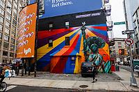 NOVA YORK, EUA - 30.11.2018 - ARTE-NOVA YORK - Mural Estatua da Liberdade com chapeu mexicano do artista brasileiro Eduardo Kobra é visto na Ilha de Manhattan em Nova York (Foto Vanessa Carvalho / Brazil Photo Press)