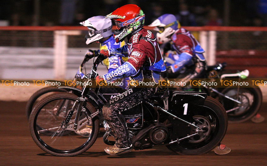 Heat 6: Lee Richardson (red), Joonas Kylmakorpi (white), Peter Ljung (blue) and Timo Lahti (yellow) - Lakeside Hammers vs Eastbourne Eagles, Elite League Speedway play-off semi-final at the Arena Essex Raceway, Purfleet - 19/09/11 - MANDATORY CREDIT: Rob Newell/TGSPHOTO - Self billing applies where appropriate - 0845 094 6026 - contact@tgsphoto.co.uk - NO UNPAID USE.