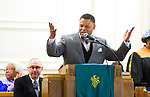 WATERBURY, CT-012119JS01- Rev. Kelsey Hopson , Pastor of Mt. Olive AME Zion Church, welcomes guests to the annual Rev. Martin Luther King Day Service held Monday at Grace Baptist Church in Waterbury. During the event, which was hosted by the Waterbury Fellowship of Christian Churches, former Waterbury Police Chief Vernon L. Reddick, Jr.,  was honored with the MLK Achievement Award. <br /> Jim Shannon Republican American