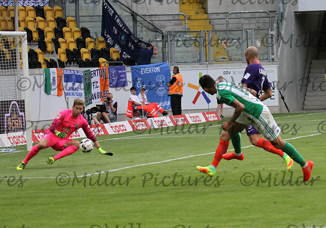 Felix Wiedwald saves the shot from Tonny Sanabria in the Werder Bremen v Real Betis match in the Bundeswehr Karriere Cup Dresden 2016 played at the DDV Stadion, Dresden on 29.7.16.