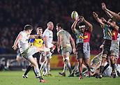 3rd December 2017, Twickenham Stoop, London, England; Aviva Premiership rugby, Harlequins versus Saracens; Owen Farrell of Saracens clears under pressure from the Quins pack