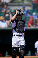 Inland Empire 66ers catcher Ryan Scott (15) during a California League game against the Modesto Nuts on April 10, 2019 at San Manuel Stadium in San Bernardino, California. Inland Empire defeated Modesto 5-4 in 13 innings. (Zachary Lucy/Four Seam Images)