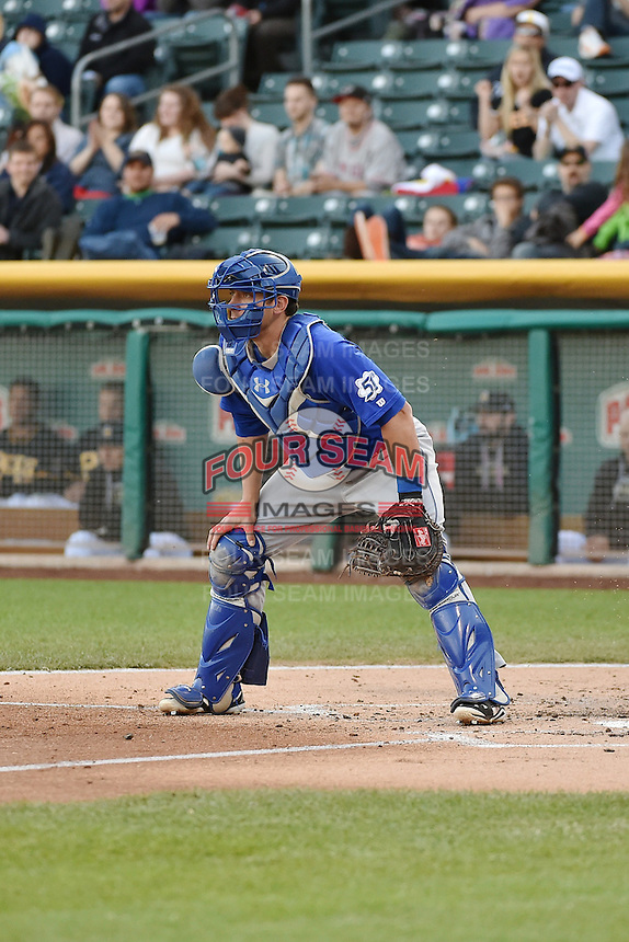 Taylor Teagarden (23) of the Las Vegas 51s on defense against the Salt Lake Bees at Smith's Ballpark on May 8, 2014 in Salt Lake City, Utah.  (Stephen Smith/Four Seam Images)