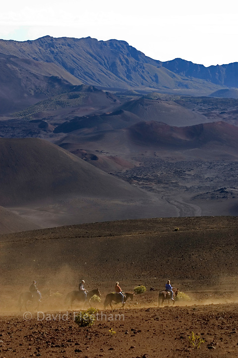 These riders (MR) are working their way down sliding sands trail into Haleakala Crater, Maui's dormant volcano. Hawaii.