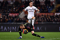 Krzysztof Piatek of AC Milan and Patrick Robin Olsen of AS Roma compete for the ball during the Serie A 2018/2019 football match between AS Roma and AC Milan at stadio Olimpico, Roma, February 3, 2019 <br />  Foto Andrea Staccioli / Insidefoto
