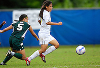 Florida International University Golden Panthers against Stetson at Miami, Florida on Sunday, September 23, 2007.  The Golden Panthers won, 2-1...FIU freshman forward Claudia Cardenas (7) manages to sneak by Stetson sophomore defender Elise Ketcham (5) to score the game-winning goal at 86:34 in the second half to put the Golden Panthers up, 2-1.