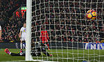 Divock Origi of Liverpool watches as his cross sneaks into the far corner of the goal during the Premier League match at the Anfield Stadium, Liverpool. Picture date: November 26th, 2016. Pic Simon Bellis/Sportimage