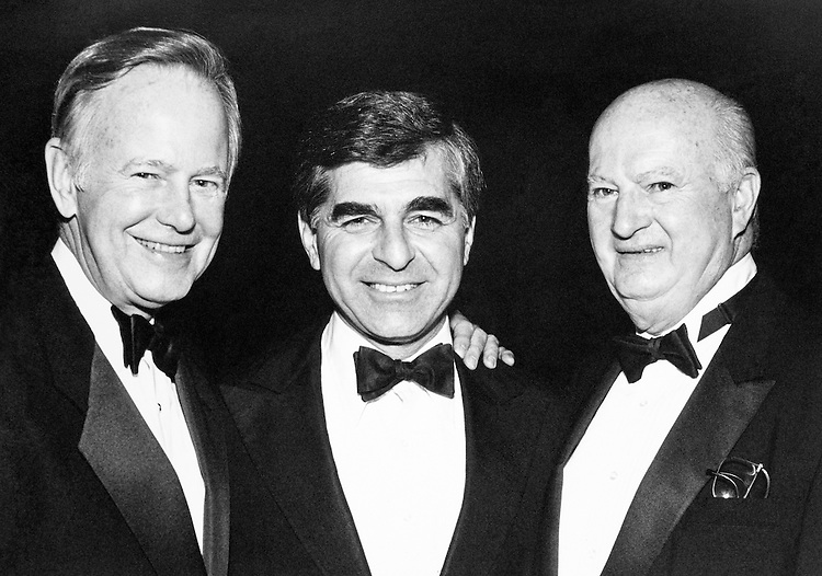 At the Democratic National Committee Fundraiser Dinner, Sen. Brock Adams, D-Wash., Governor Michael Dukakis and John Gannon, Idaho (International Union of Police Association). October 24, 1989. (Photo by Maureen Keating/CQ Roll Call)