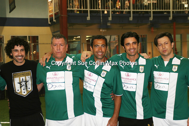 Ethan Zohn, Steve Jones and Gilles Marini at the Celebrity soccer game to benefit Hollywood United for Haiti at 1st Setanta Cup Soccer Festival on April 11, 2009 at Chelsea Pers, NYC. (Photo  by Sue Cofln/Max Photos)