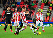 2nd December 2017, bet365 Stadium, Stoke-on-Trent, England; EPL Premier League football, Stoke City versus Swansea City; Darren Fletcher of Stoke City and Martin Olsson of Swansea City challenge for the ball