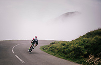 Taylor Phinney (USA/Education First-Drapac) is the very last rider coming down the last climb of the 2018 Tour: the Col d'Aubisque (HC/1709m/16.6km@4.9%)<br /> <br /> Stage 19: Lourdes > Laruns (200km)<br /> <br /> 105th Tour de France 2018<br /> ©kramon
